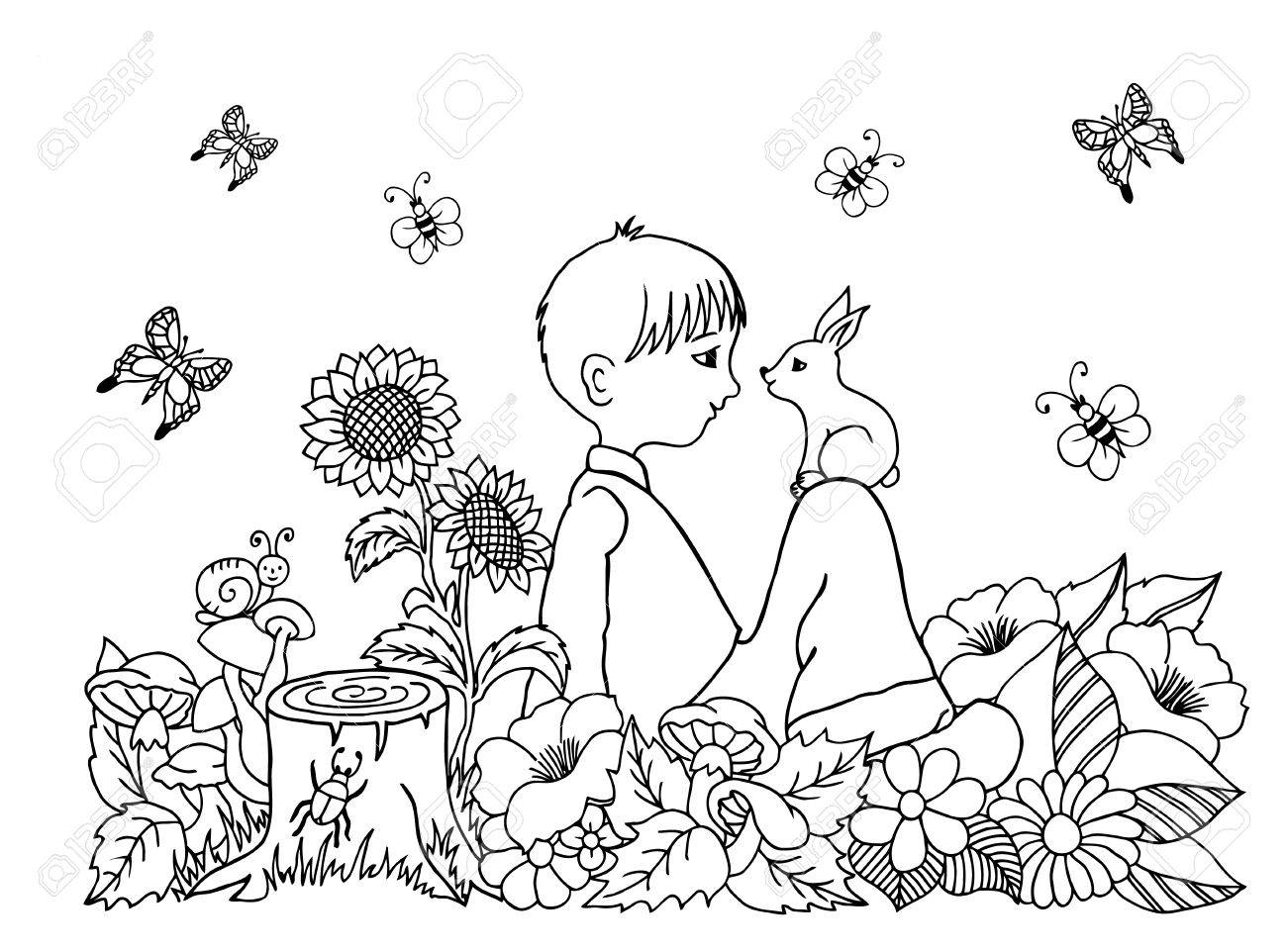 1300x962 Illustration Boy In The Flowers On His Lap Rabbit. Doodle Drawing