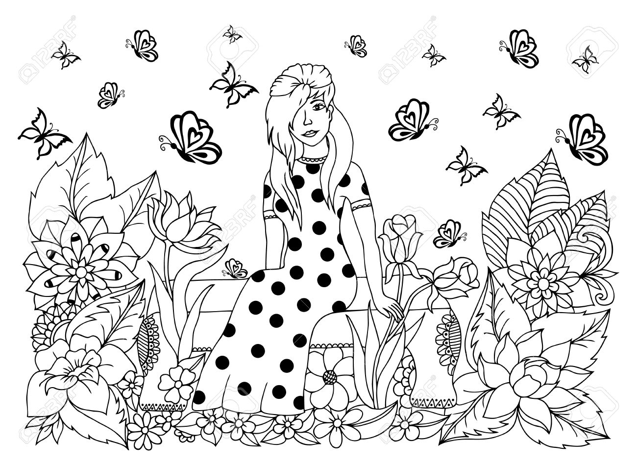 1300x951 Illustration Girl Sitting On A Bench In Flowers. Doodle Drawing