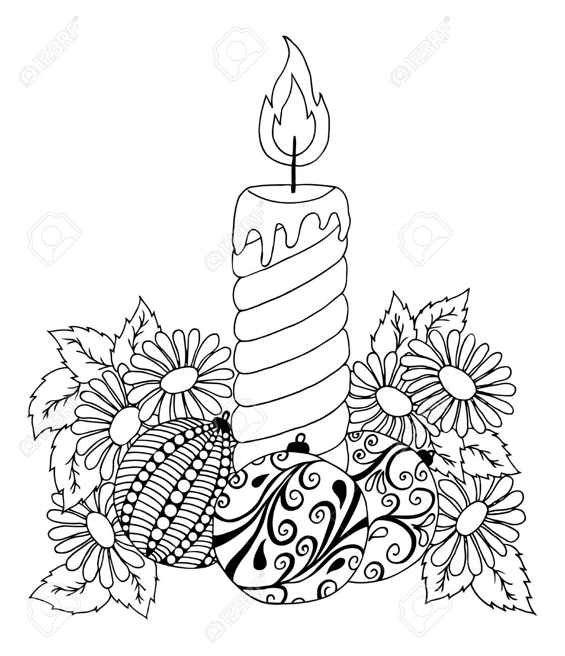1118x1300 Illustration New Year Candle In Flowers. Doodle Drawing