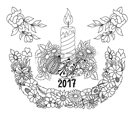 450x392 Illustration New Year Candle Surrounded By Flowers. Doodle Drawing