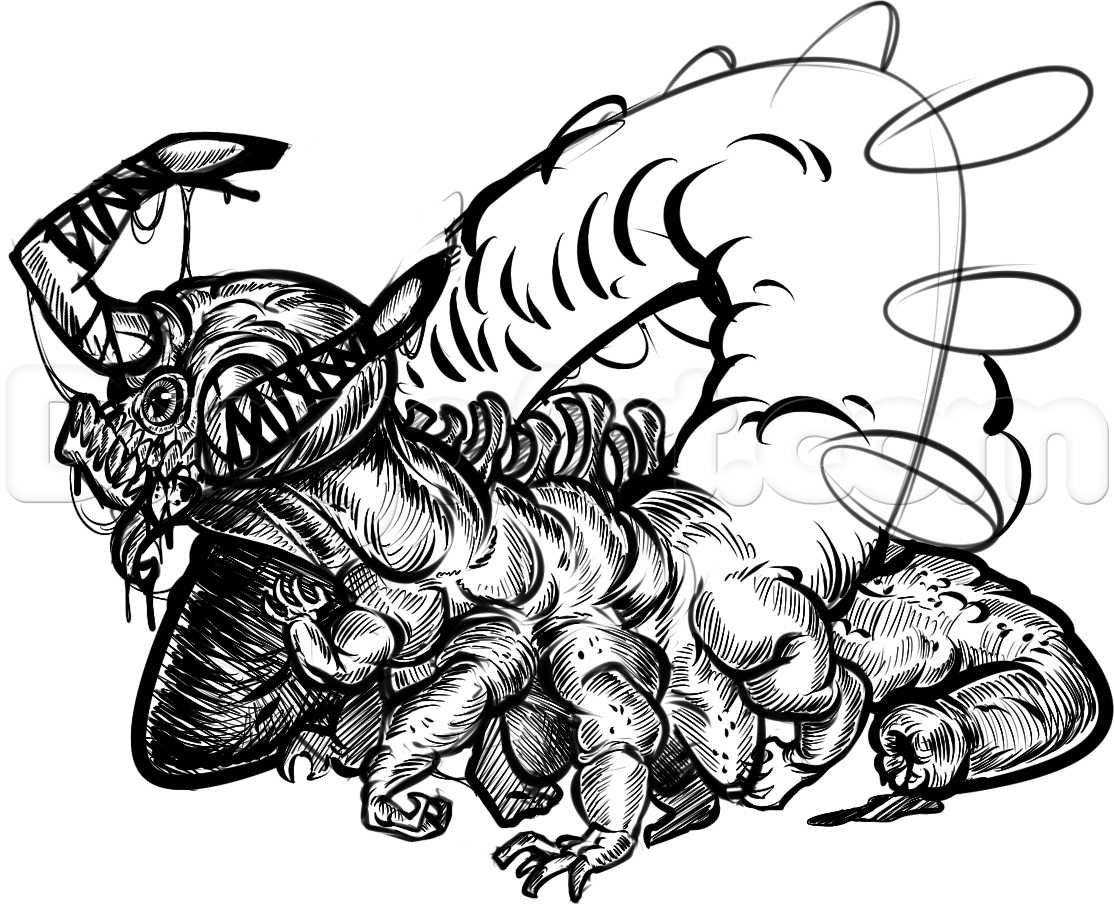 1114x912 Cool Monster Drawings How To Draw A Cool Monster Tattoo, Stepstep