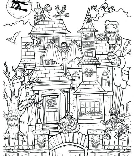 429x500 Coloring Pages ~ Haunted House Coloring Page Free Printable