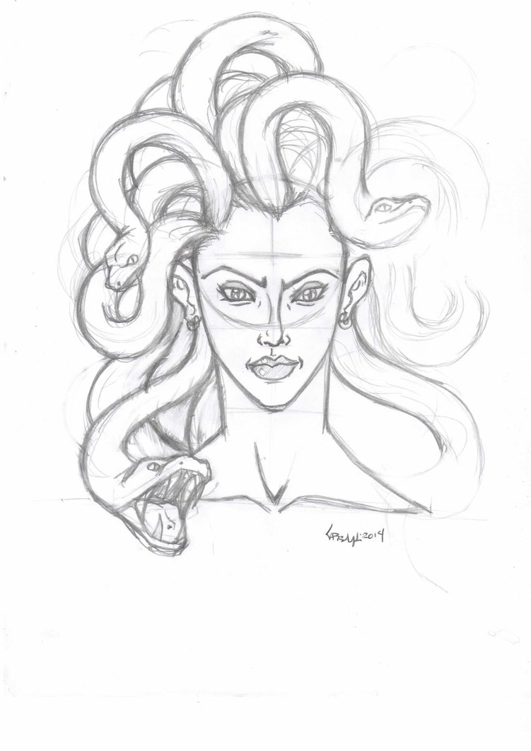 751x1063 Medusa Face Sketch By Tefenthescorpion