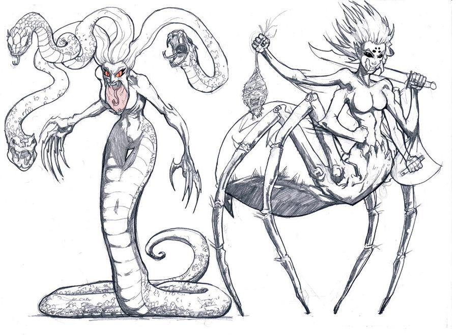 900x660 Medusa And Arachne By Pashburn
