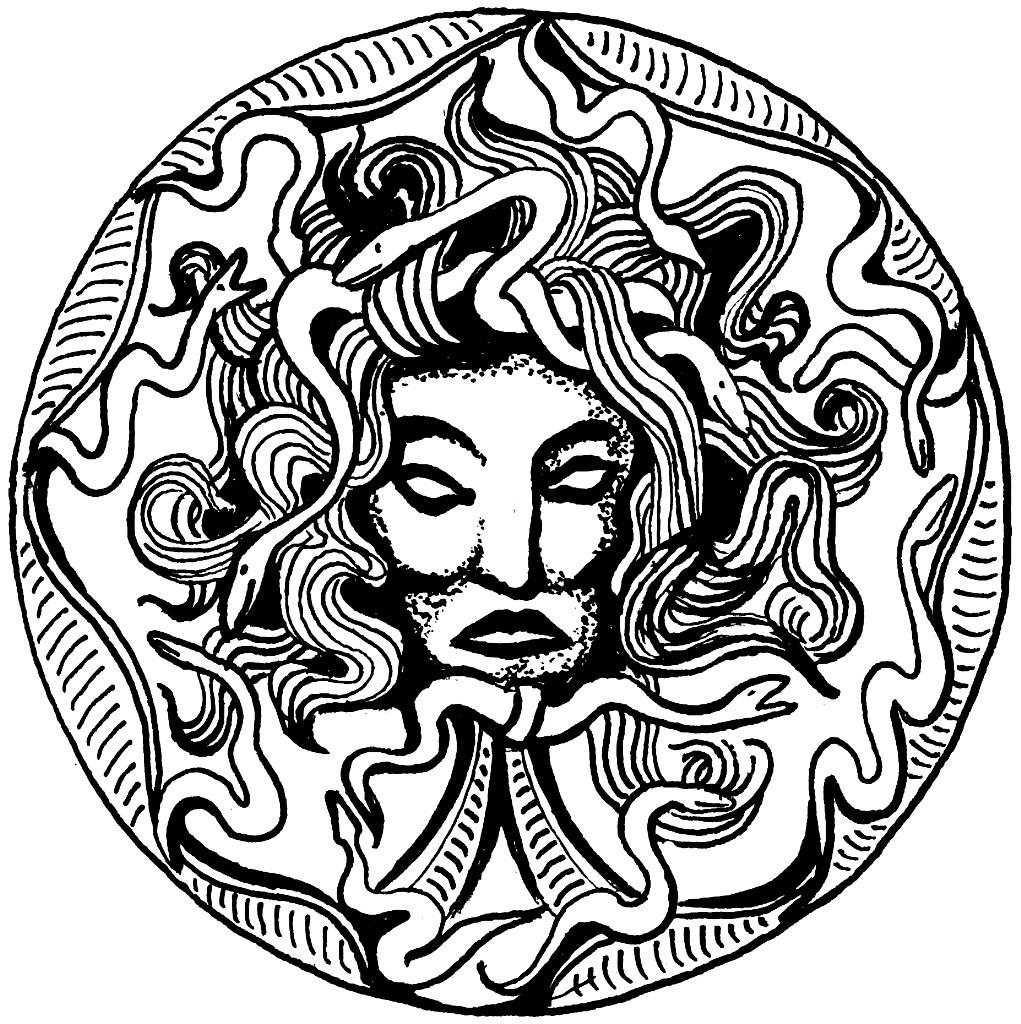 1021x1024 Coloring Page Medusa