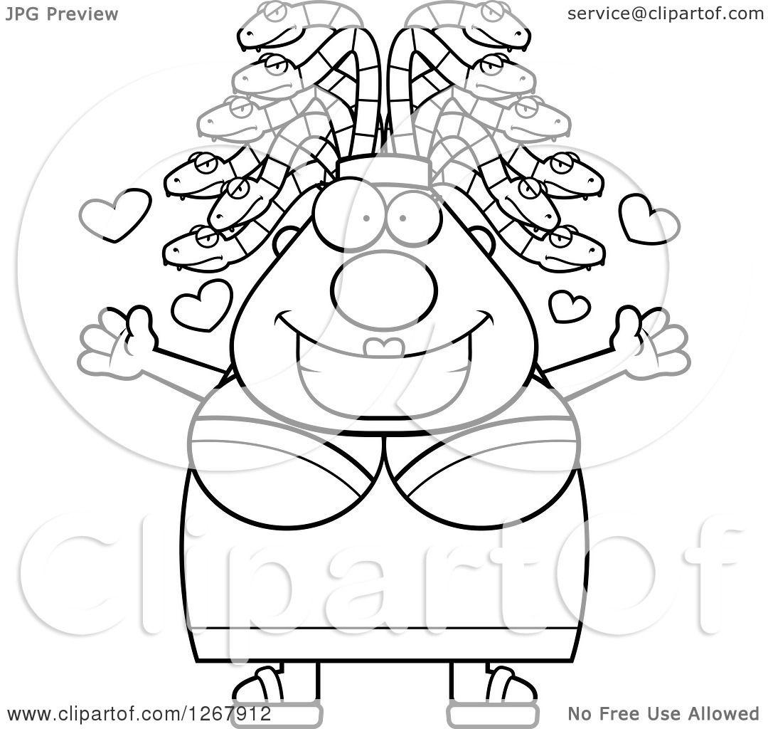 1080x1024 Clipart Of A Black And White Loving Chubby Gorgon Medusa Woman