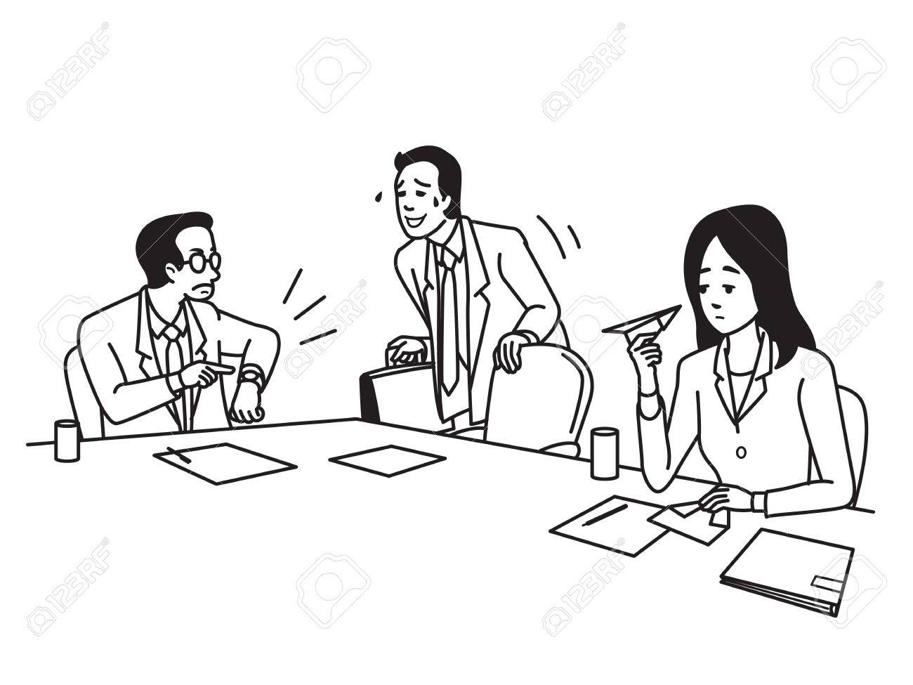 1300x975 Businessman, Office Worker, Has Come Meeting Late As Manager