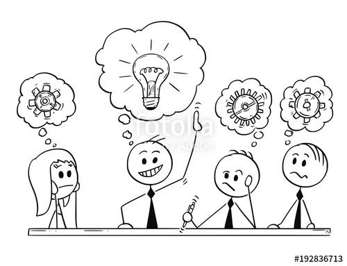 500x383 Cartoon Stick Man Drawing Conceptual Illustration Of Business Team