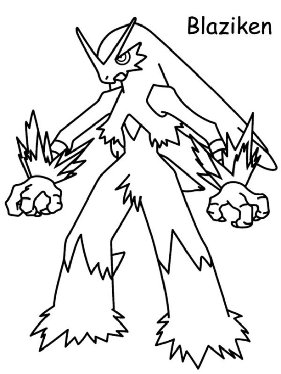 550x733 Blaziken Pokemon Black And White Coloring Pages Picture