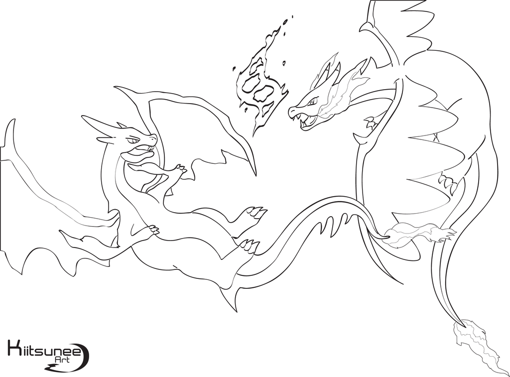 1024x757 who 39s the strongest mega charizard y x lineart by xkiitsunee