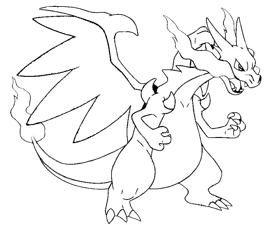 862x729 Pokemon Coloring Pages Mega Charizard X Printable To Snazzy Print