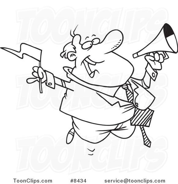 581x600 Cartoon Blacknd White Line Drawing Of Business Man Waving