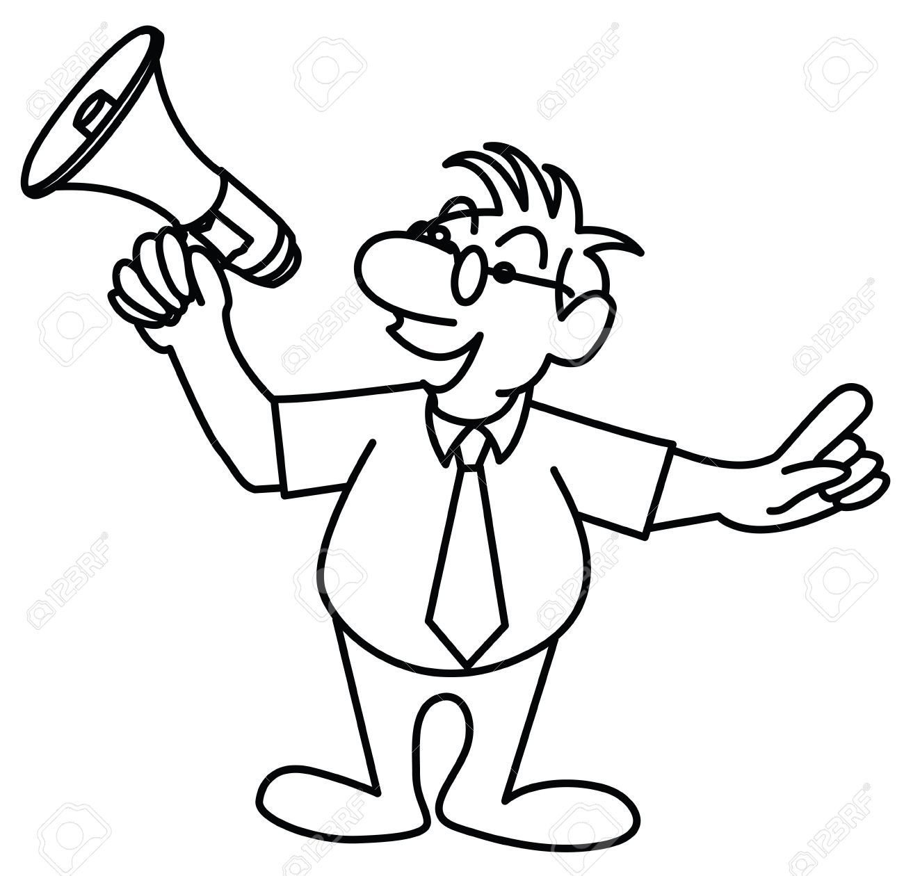 1300x1260 A Strip Drawing Little Man Speaking In A Megaphone Stock Photo
