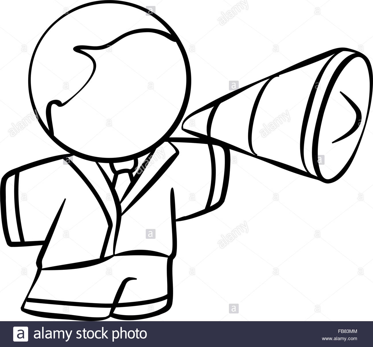1300x1209 Line Drawing Of A Business Man With A Megaphone Stock Vector Art