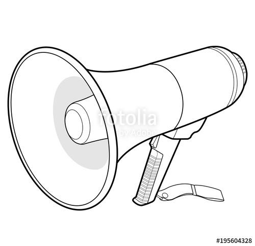 500x484 Megaphone Speaker Vector Illustration Flat Sketches Template