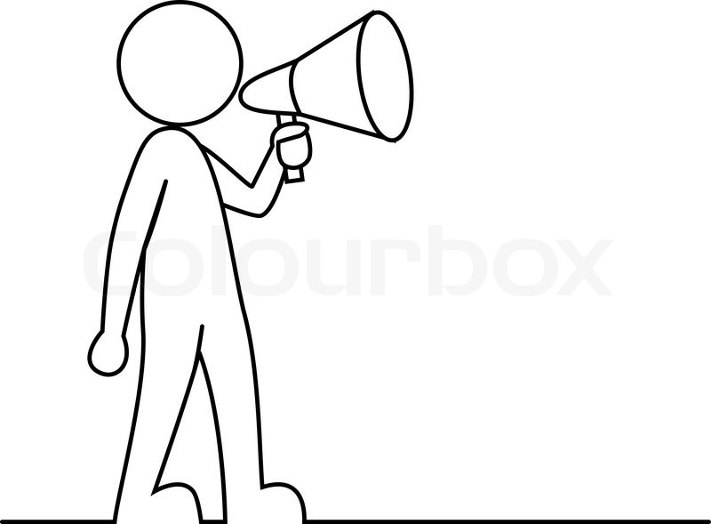 800x589 Simple Person With Megaphone Stock Vector Colourbox