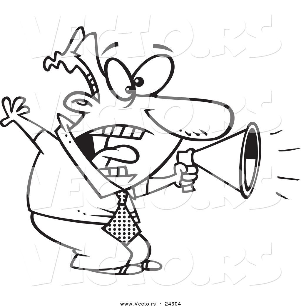 1024x1044 Vector Of A Cartoon Businessman Shouting In A Megaphone