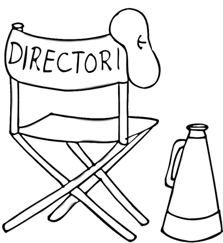 440x480 Beret, Folding Chair And Megaphone Of Film Director Coloring Page