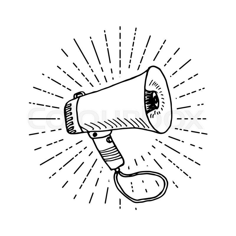 800x800 Bullhorn Or Megaphone, Loudspeaker, Hand Drawn Sketch On Retro