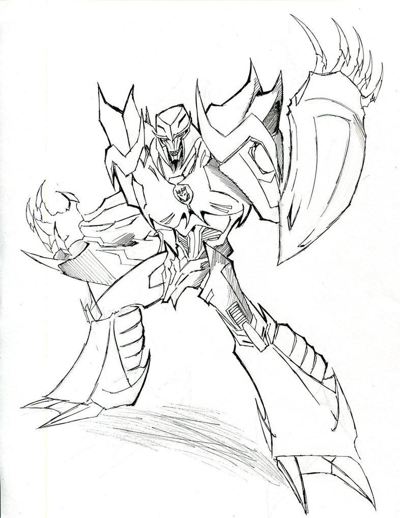 786x1017 Megatron Line Art By Winddragon24