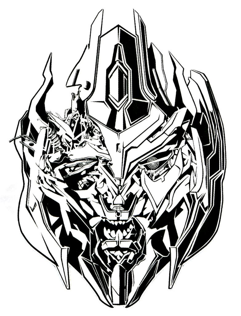 784x1024 Dotm Megatron Bw Line Art 04 Capcomkai