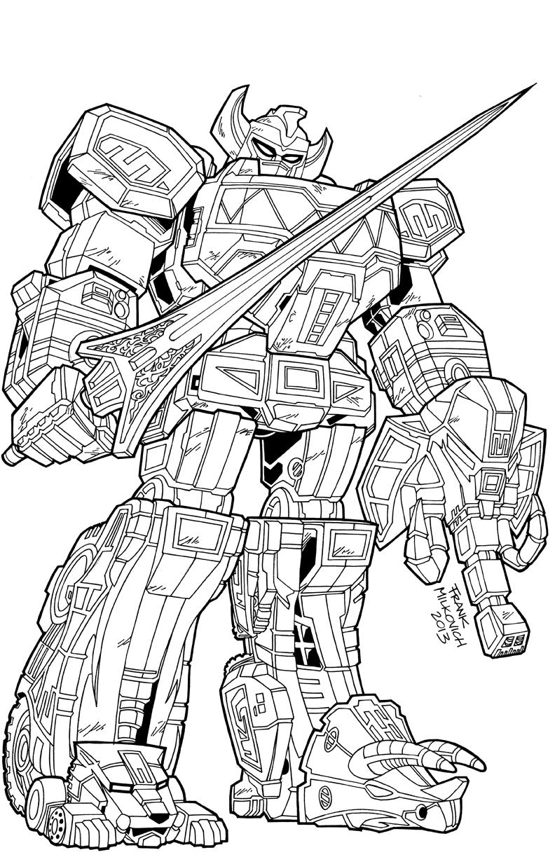 Megazord drawing at free for personal for Power rangers megazord coloring pages