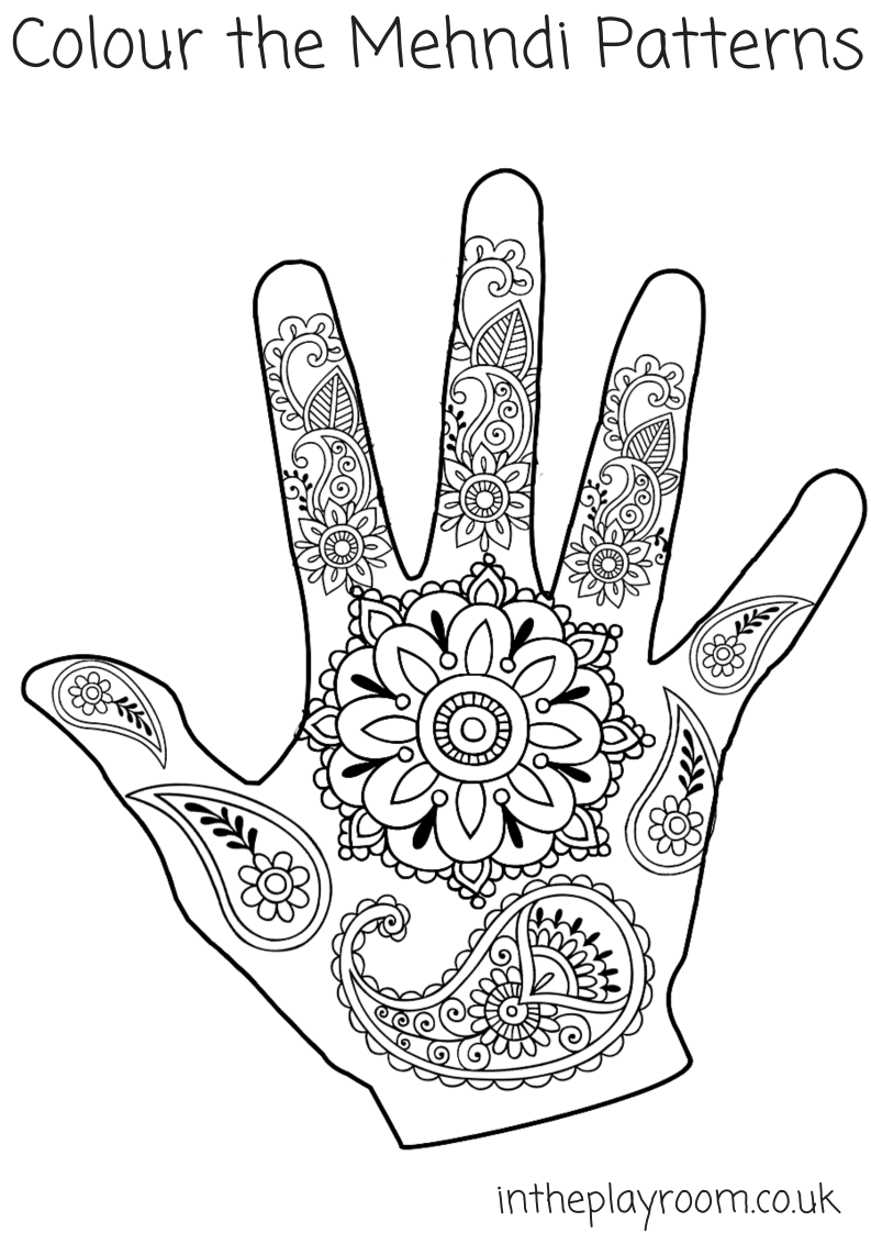 793x1122 Mehndi Hand Colouring Pages
