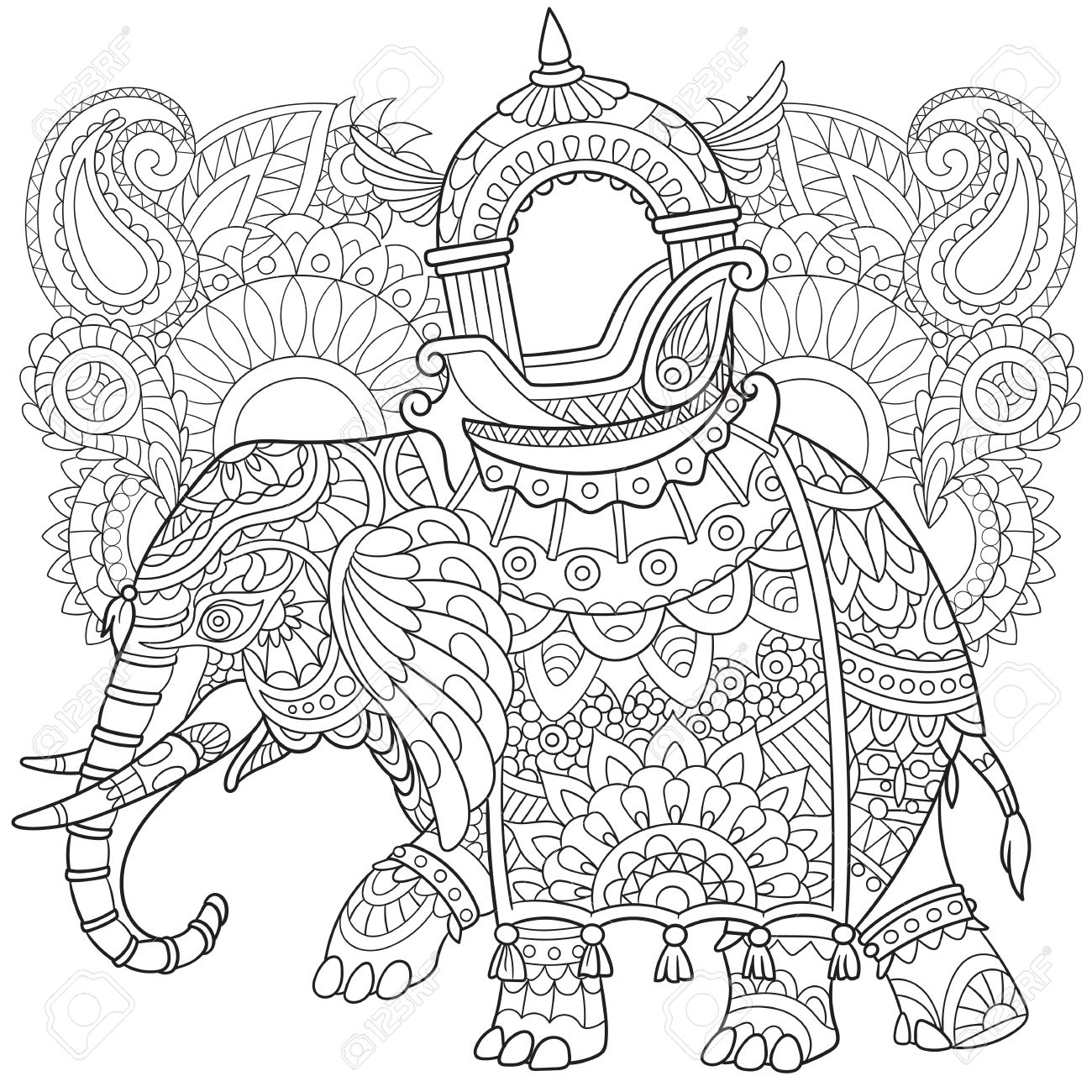 1300x1300 Cartoon Elephant With Paisley And Mehndi Symbols Sketch For Adult