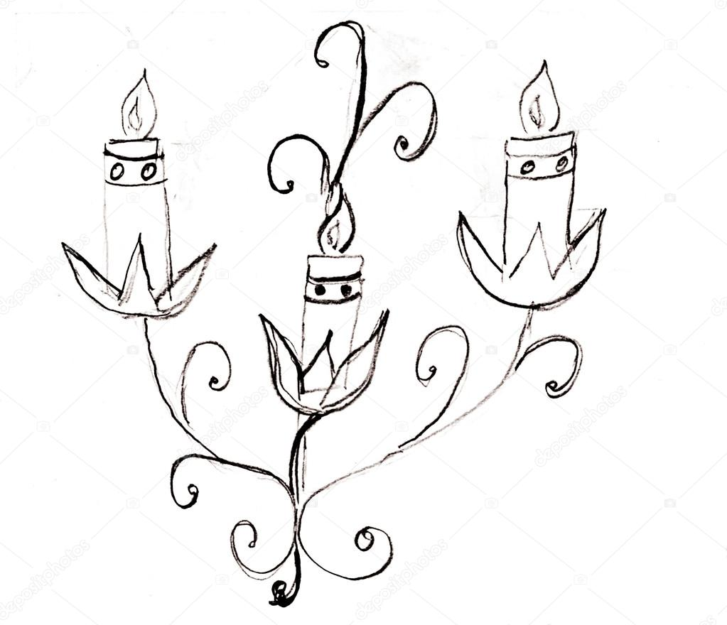 1023x880 Drawn Candle Black And White