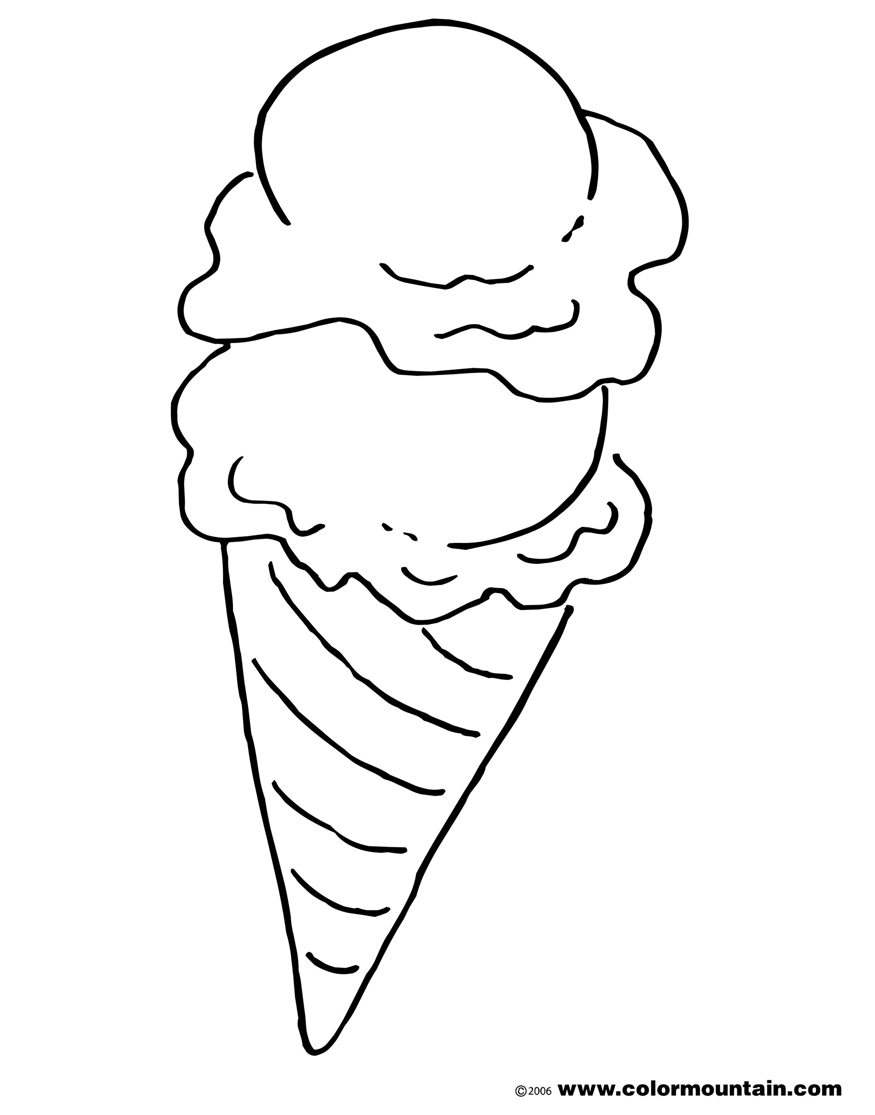 1800x2294 Ice Cream Cone Coloring Page