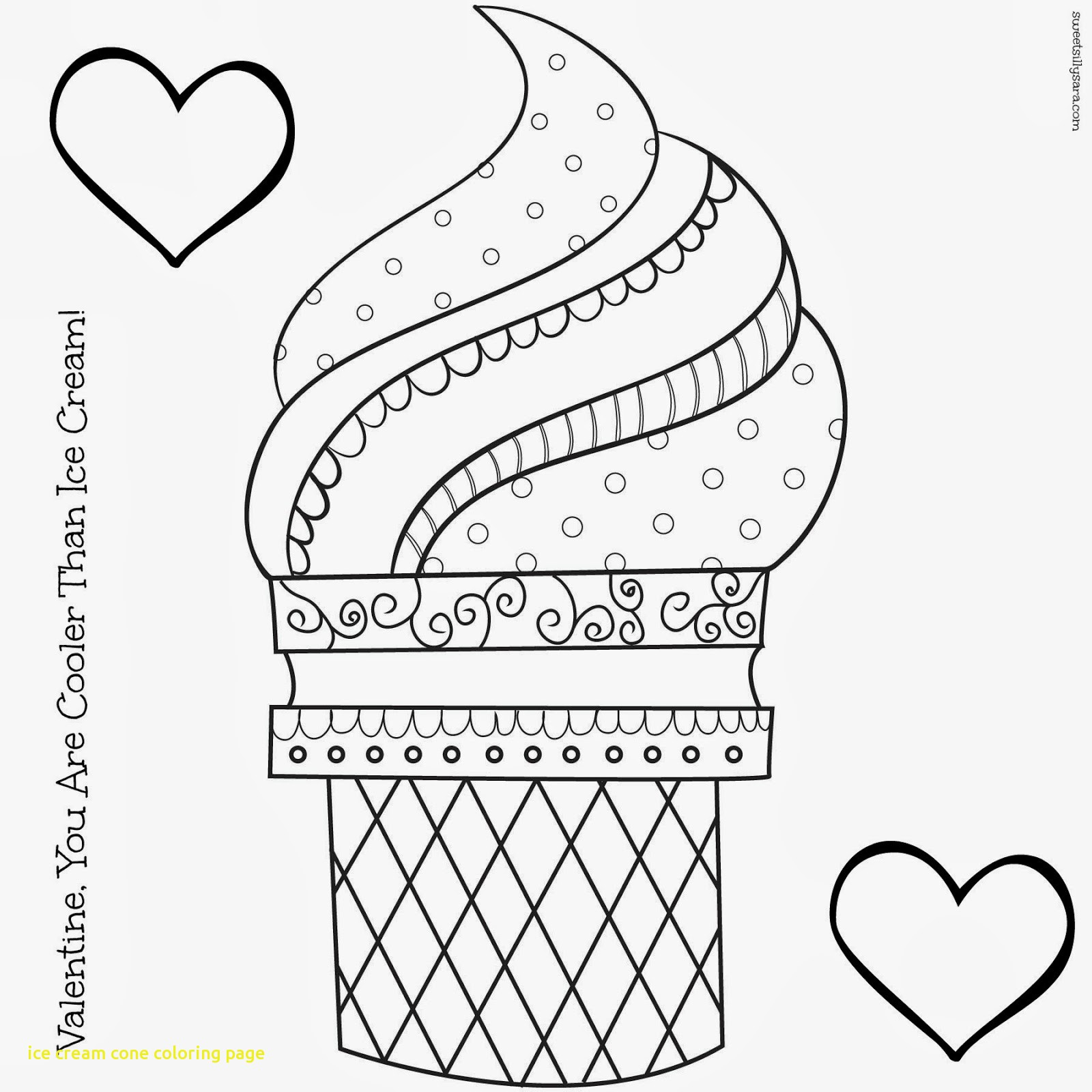 1600x1600 Ice Cream Cone Coloring Page With Melting In Summ On Summer