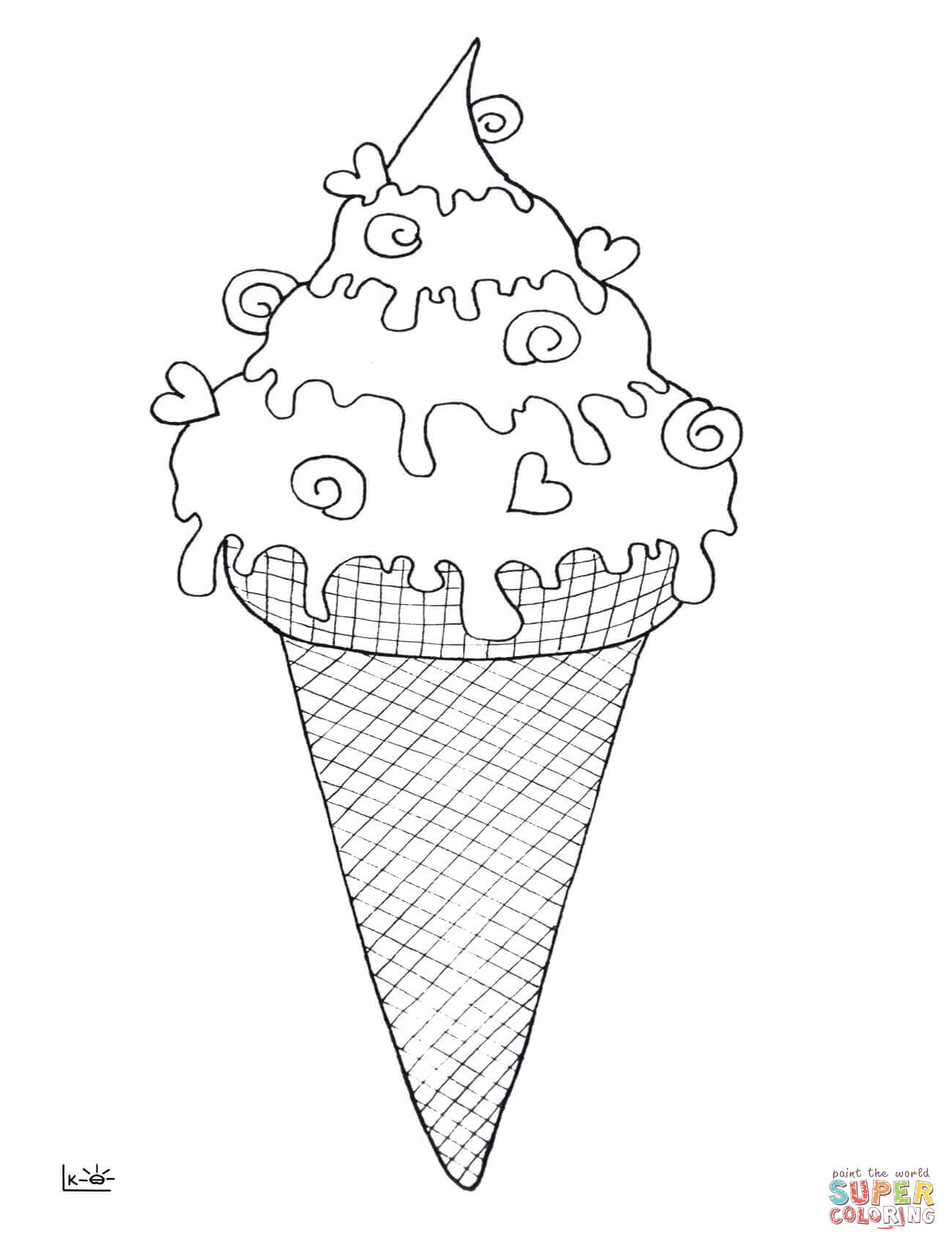 1300x1700 Ice Cream Cone Coloring Page Free Printable Coloring Pages