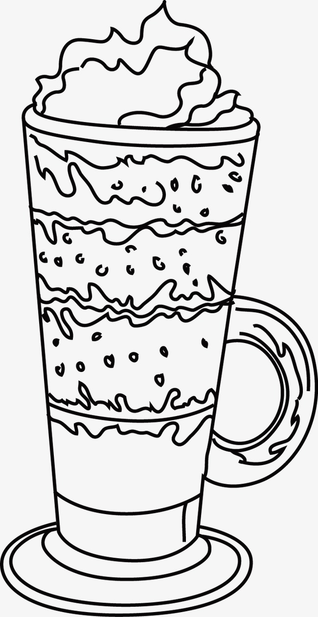 650x1259 Ice Cream, Line Drawing, Black And White, Hand Painted Png Image