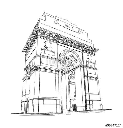 479x500 India Gate Vector Sketch Illustration War Memorial, New Delhi, I