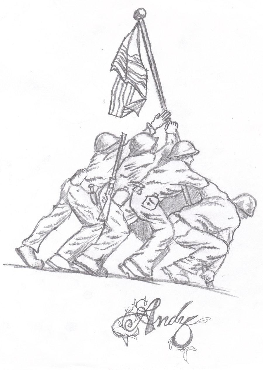 900x1264 Iwo Jima Memorial By Xxpandemoniumxx