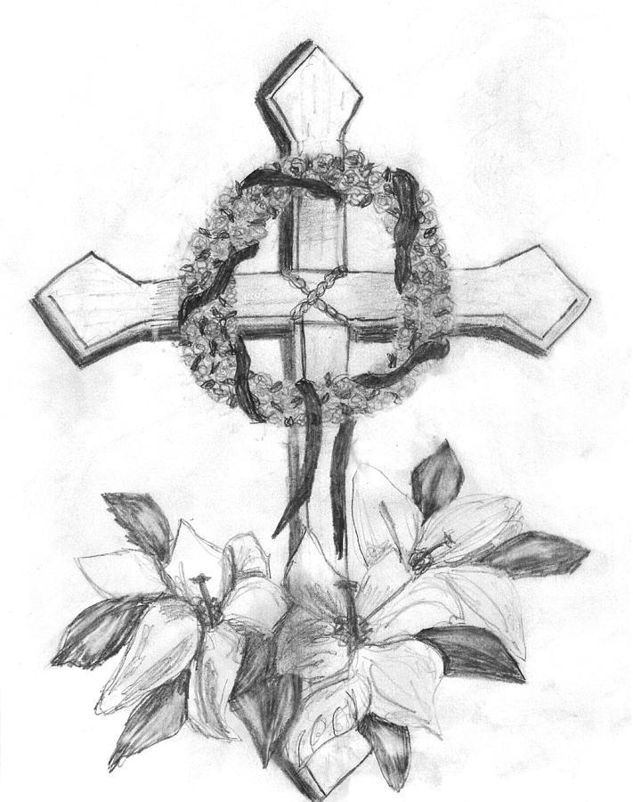 711x900 Memorial Cross Drawing By Gail Schmiedlin