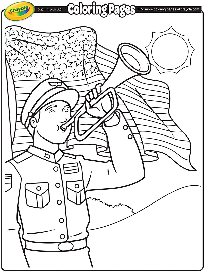 810x1080 Memorial Day Bugler Coloring Page