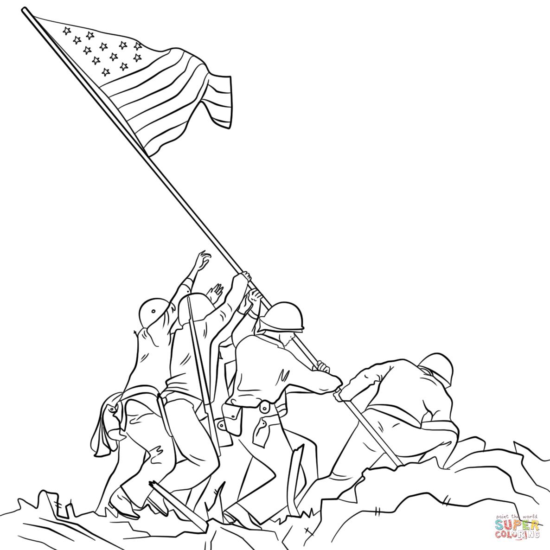 1186x1186 Raising The Flag On Iwo Jima Coloring Page Free Printable