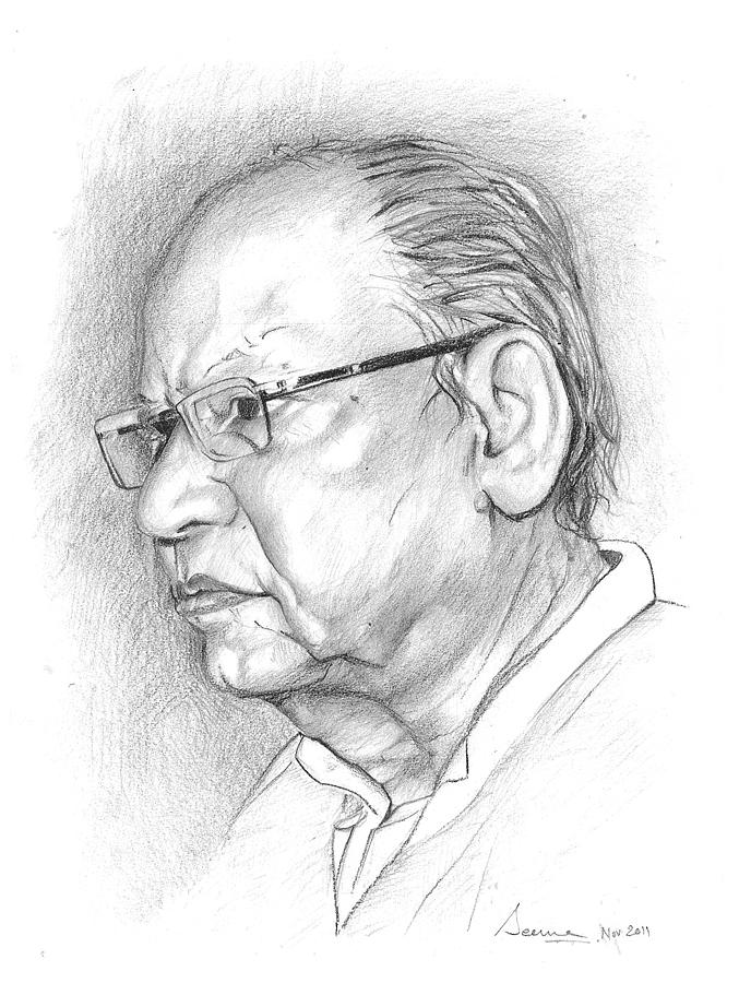 677x900 An Intellectual Person Drawing By Seema Sinha