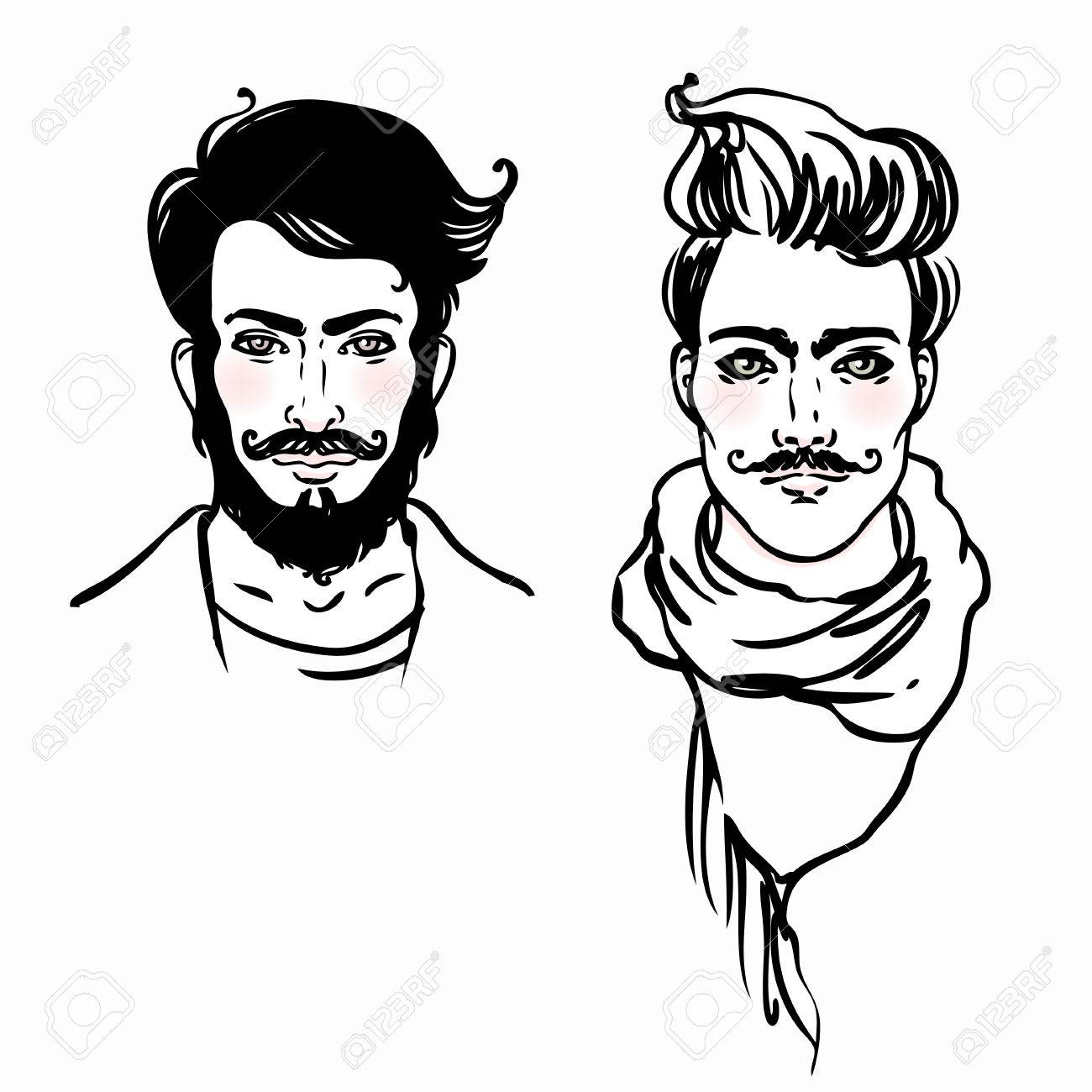 1300x1300 Hipster Style Trendy Fashion Men. Sketch Character Set Vector