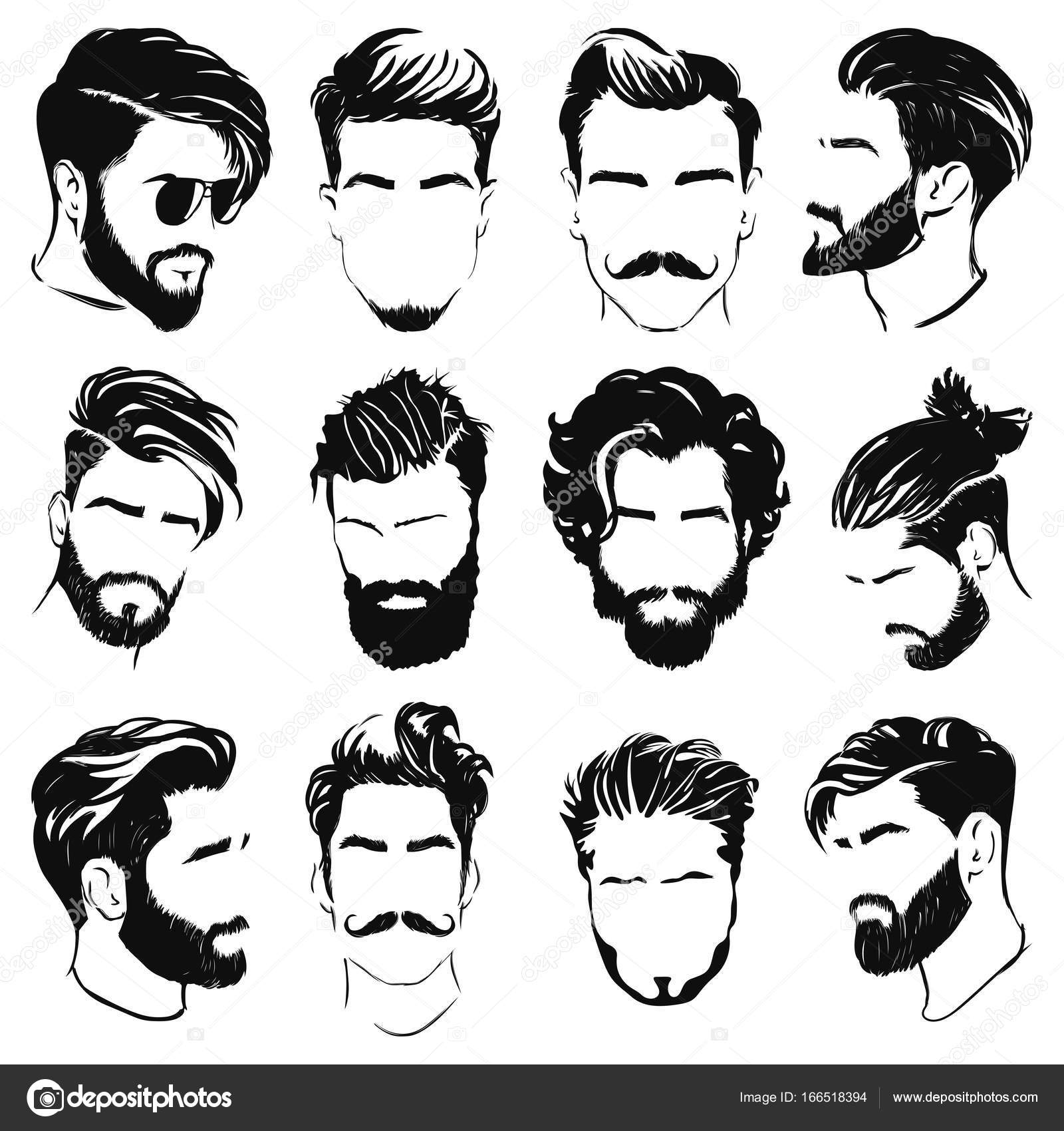 1600x1700 Vector Illustration Of Men Hairstyle Silhouettes Stock Vector