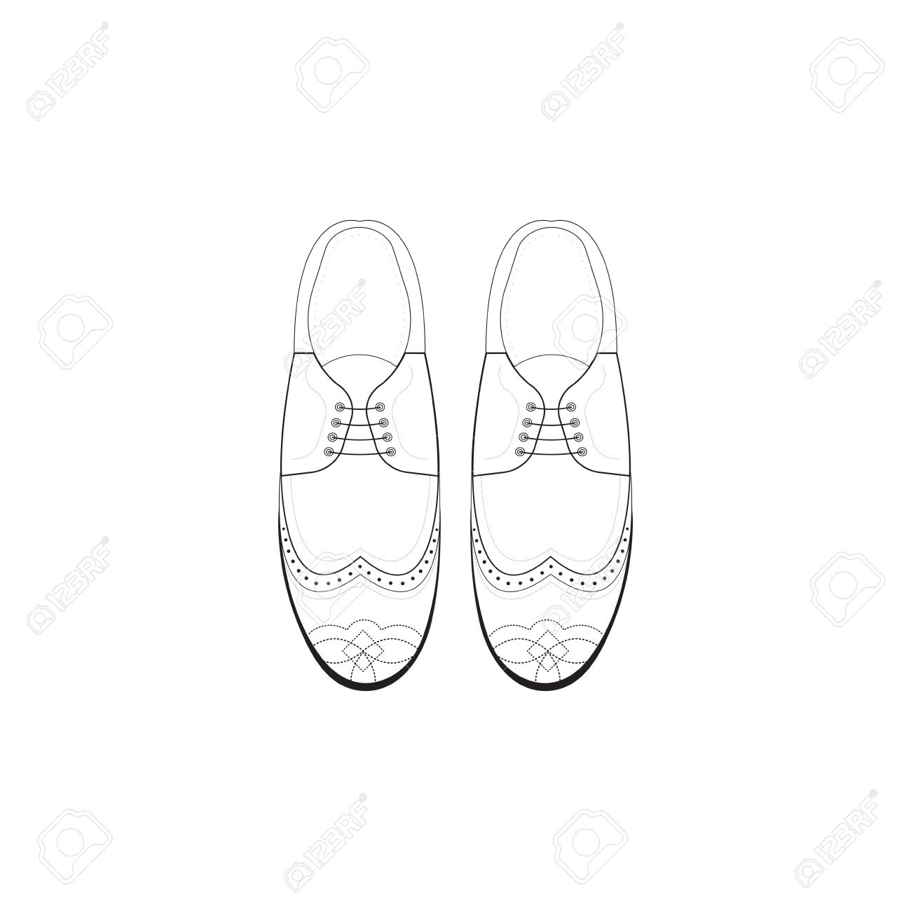 1300x1300 Hand Drawing Illustration With Men Fashion Shoes. Classic Brogue