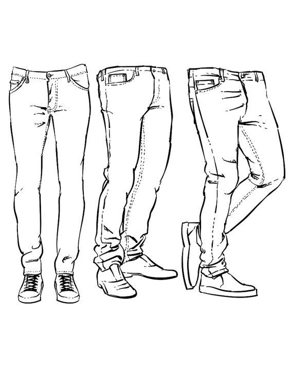 570x713 Hand Drawn Fashion Design Men's Jeans Outline. Clipart