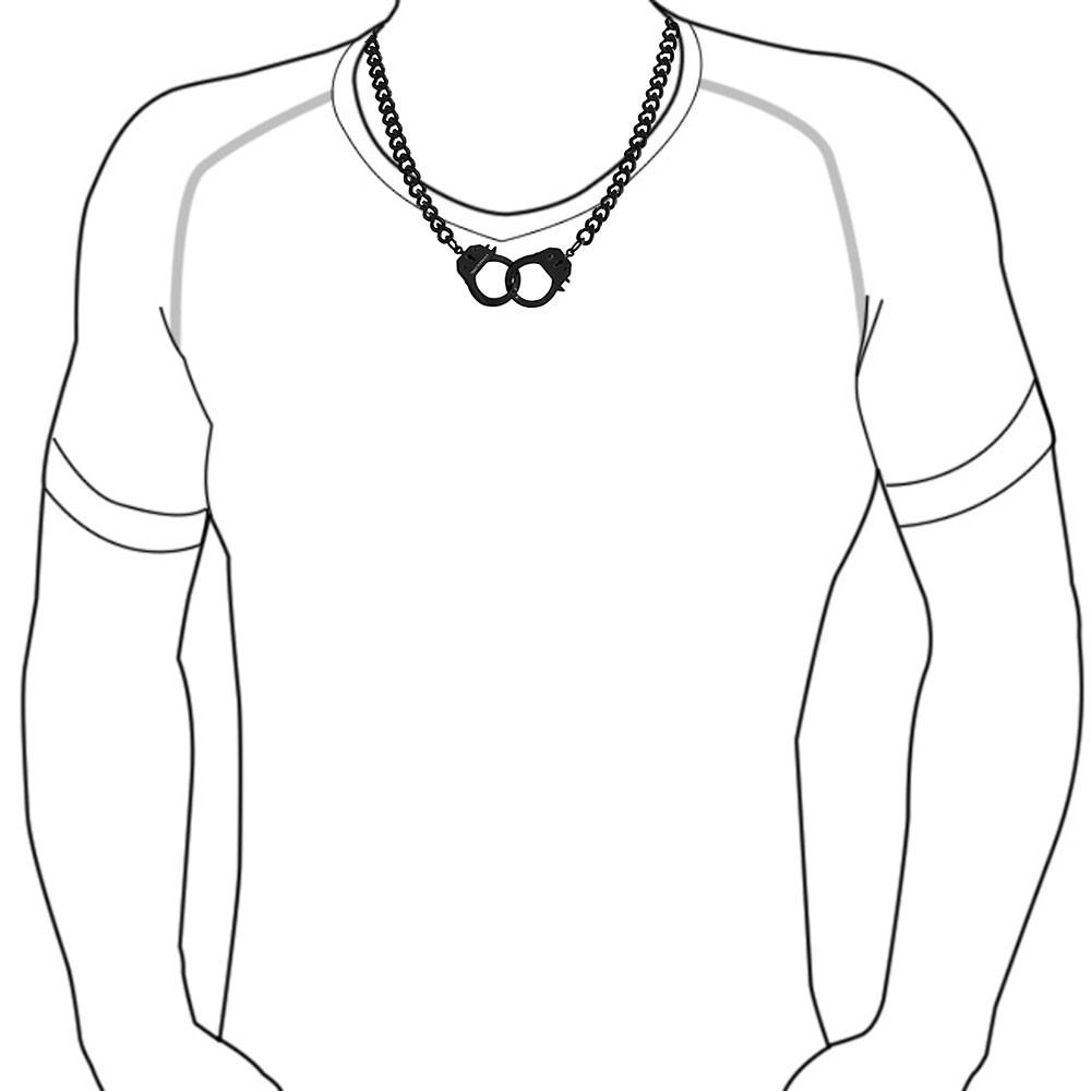 1000x1000 Mens Secret Shades Black Steel Handcuff Necklace 22in