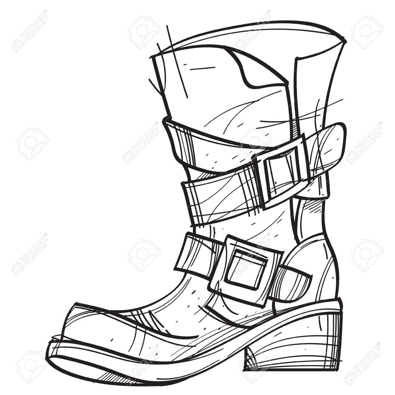 1300x1300 Old Men's Boots. Cartoon Drawing For Gaming Mobile Applications