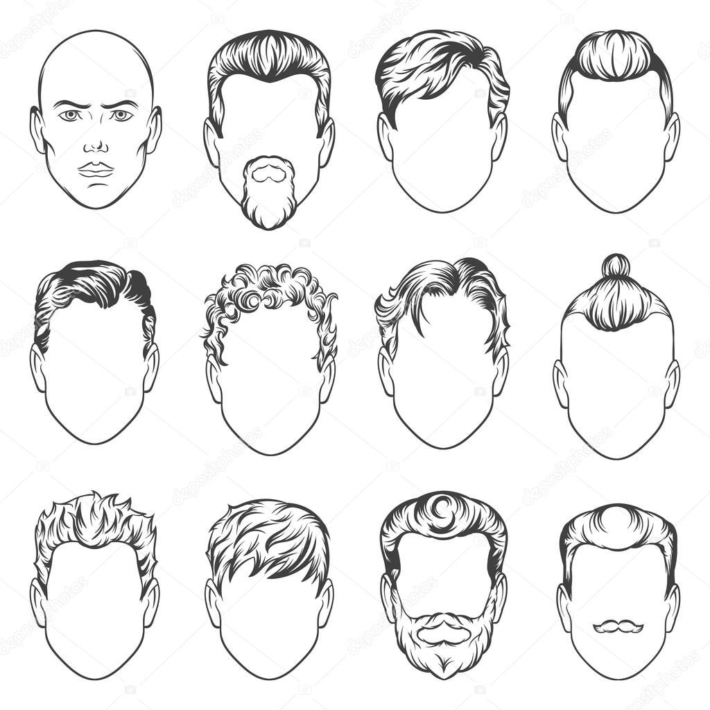 1024x1024 Set Of Hand Drawing Men Hairstyles Illustration Stock Photo