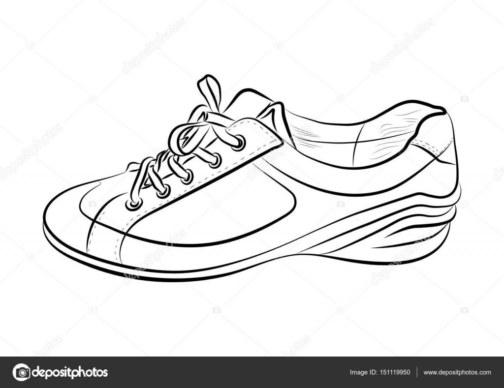 1024x789 Hand Drawn Sketch Of Sport Shoes, Sneakers For Summer. Vector