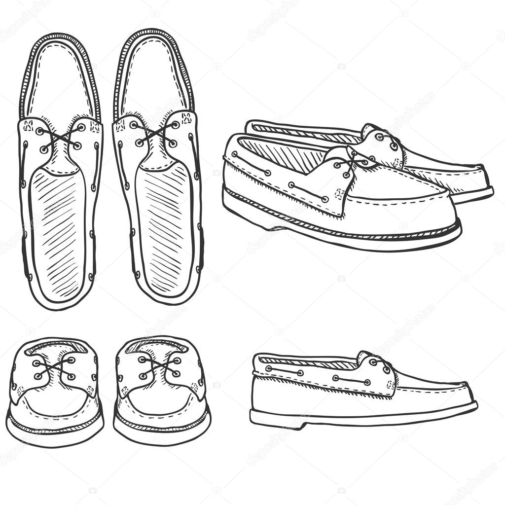 1024x1024 Set Of Sketch Topsider Men Shoes. Stock Vector Nikiteev
