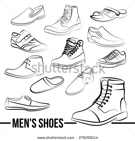 450x470 Vector Set Of Men's Shoes Painted Lines In Minimalist Style
