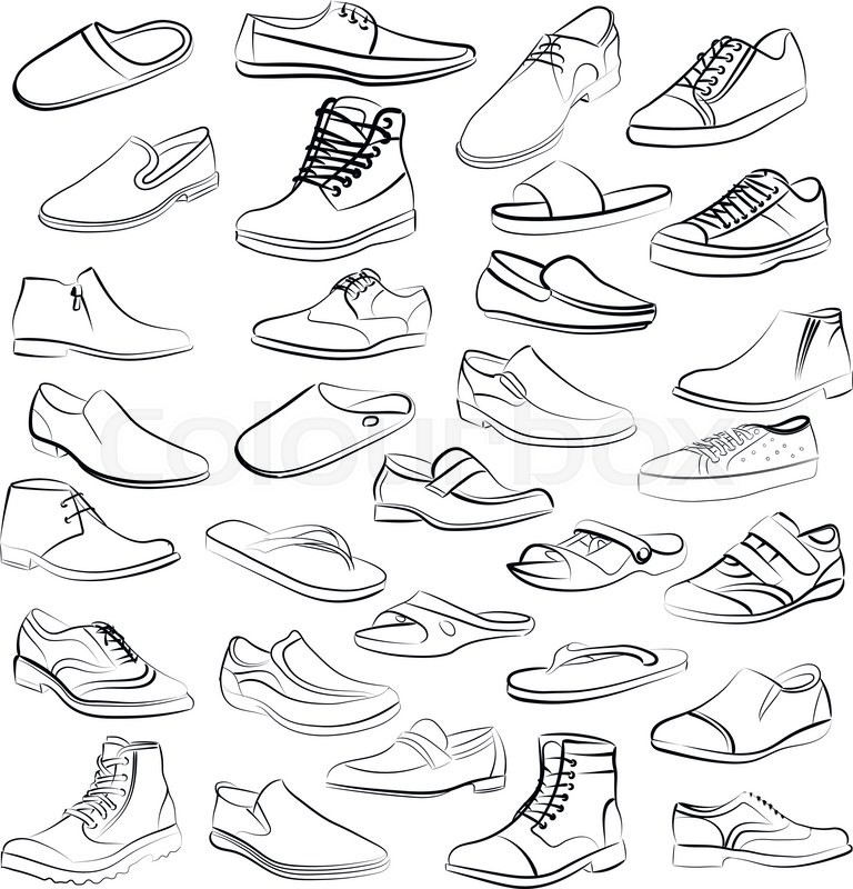 768x800 Vector Set Of Men Shoes Painted Lines In Minimalism Style. Logo